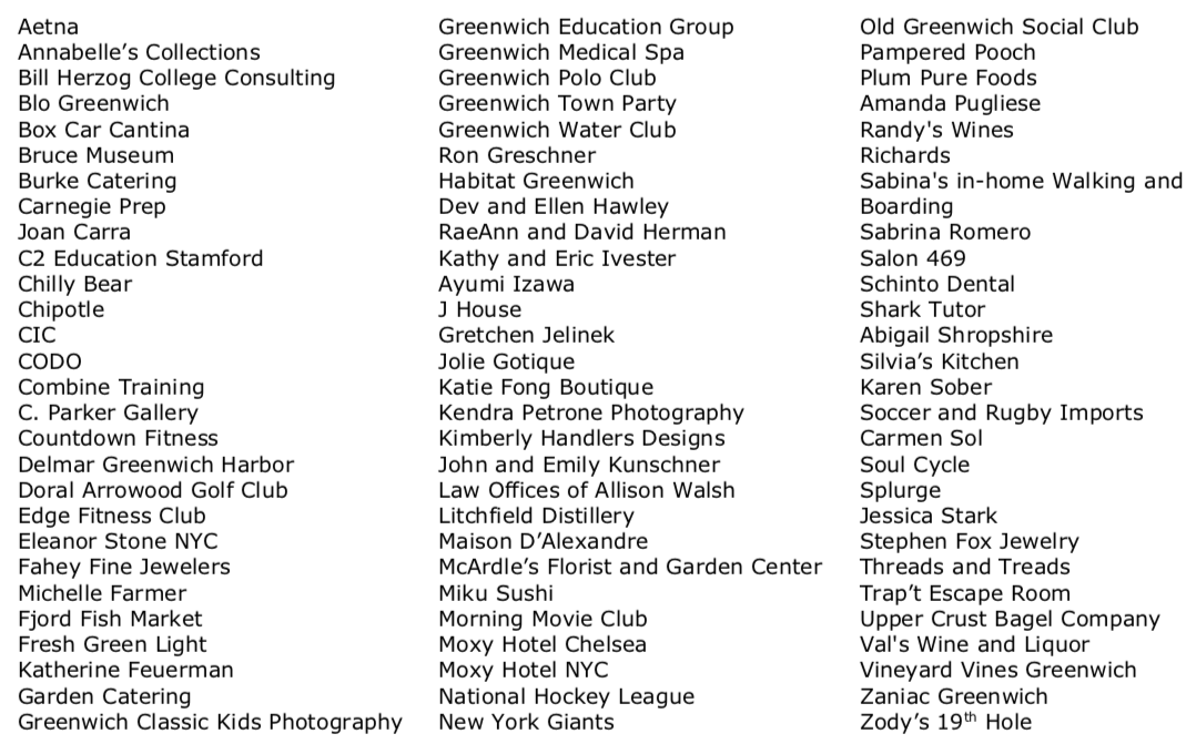List of auction donors